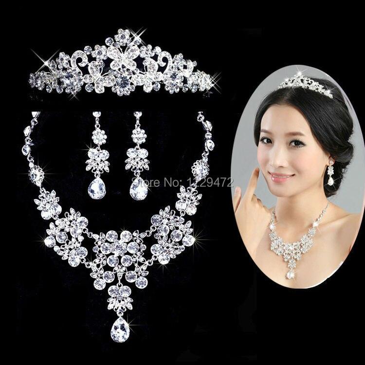 TREAZY Flor Waterdrop Crystal Diamante Rhinestone Novia 3 unids Conjunto Aretes