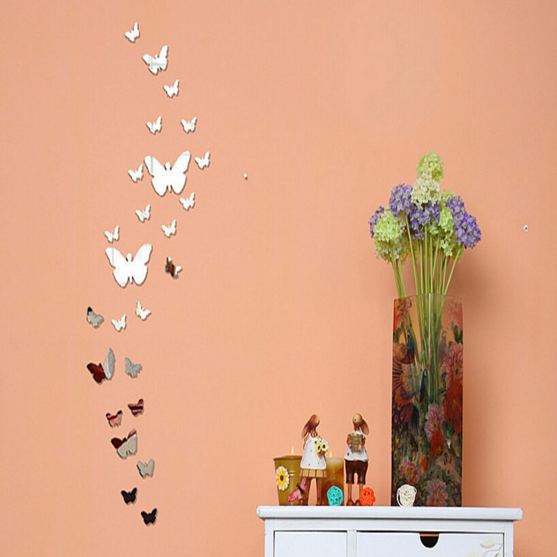 MAARYEE 3D Mirror Wall Stickers 20 Butterfly Home Decor ...