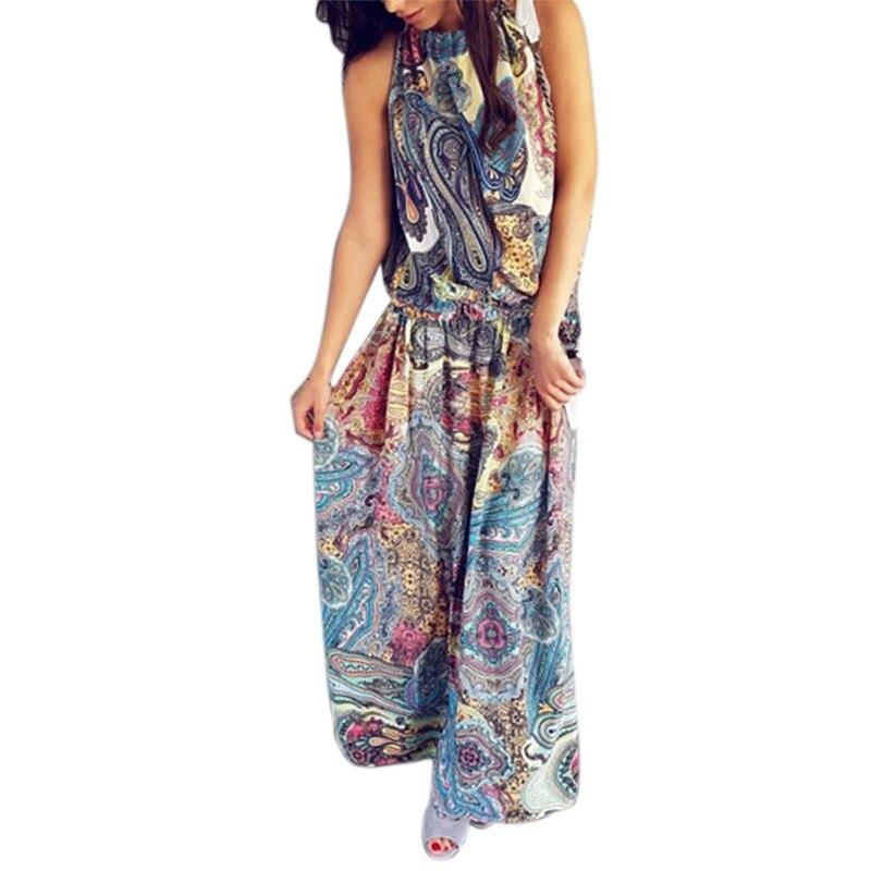 Летом Стиль Одежды Для Женщин Чешские Океан Ветер Печати Пляж Платье Женщины Цветочный Повседневная Длинное Платье