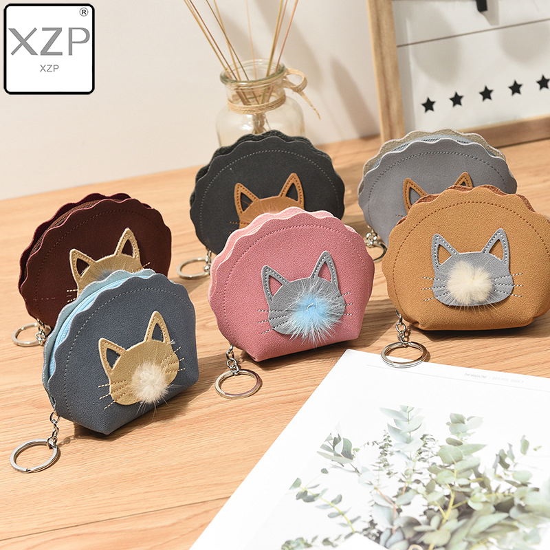XZP Mini Zipper Small Pouch Animal Cat Coin Purses Holder Women Gel Change Wallets Girl Kids Money Bag Coin Bag Children Kids