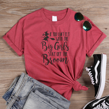ONSEME Female Halloween T Shirts If You Can't Fly With Big Girls Stay Off The Broom Slogan T Shirt Harajuku Witches Graphic Tees characterization of protea witches broom phytoplasma
