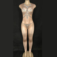Sparkly Crystals Stretch Jumpsuit Silver Stones Nude One Piece Outfit Nightclub Female Singer Birthday Party Show Sexy Bodysuit