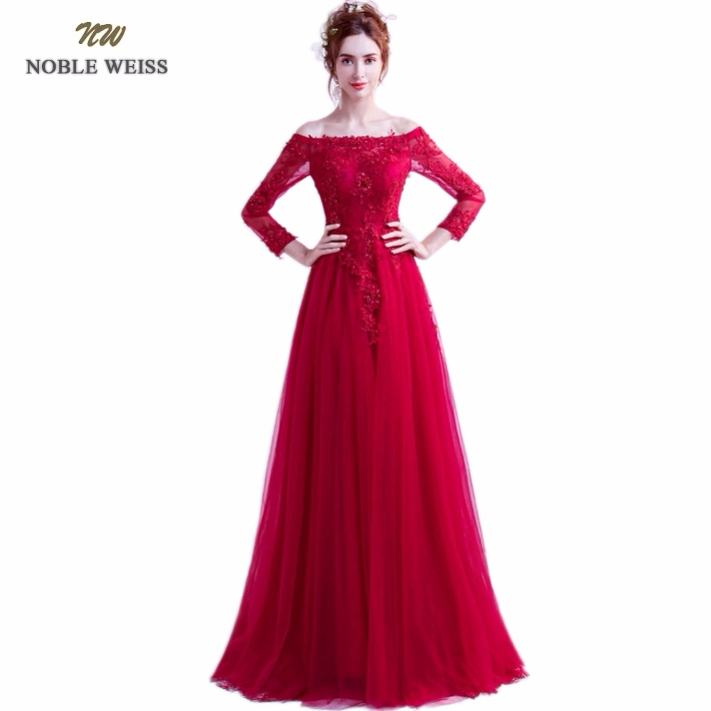 NOBLE WEISS Dark Red Evening Dresses Long 2018 High Quality Lace ...