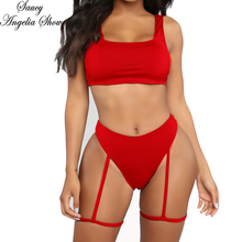 SAUCY ANGELIA Women Swimwear New Sexy High Waist Leg Strap Thong Bikini Set GYM Swimsuit Bodycon Bandage Bathing Suit Beach Wear