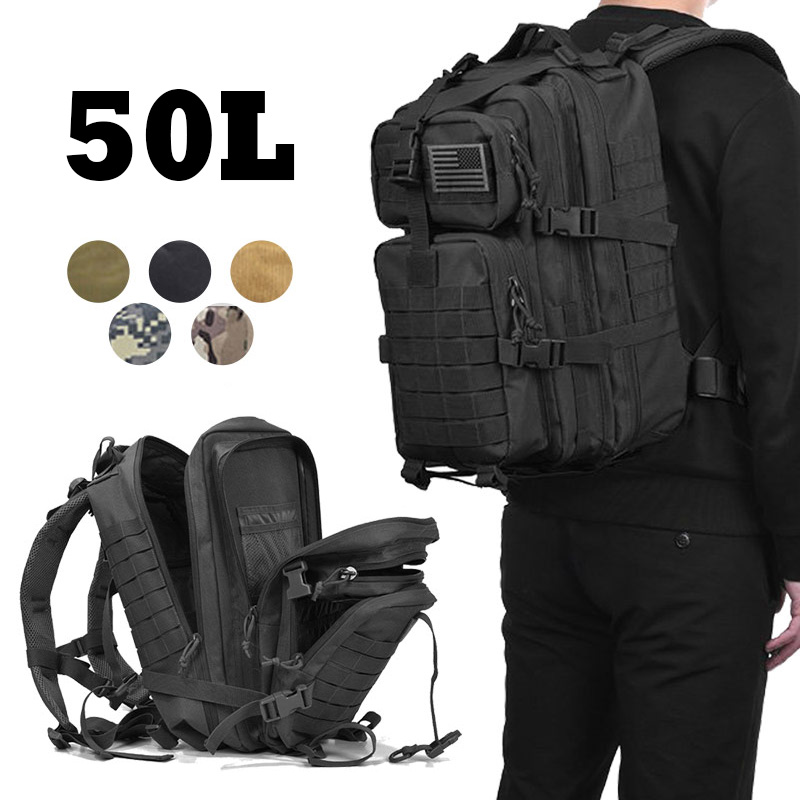 50L Military Tactical Assault Backpack Army Waterproof Bug Travel Bag Large Rucksack 3D Outdoor Hiking Camping Hunting Men Bags