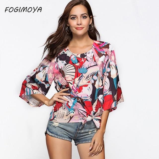 FOGIMOYA Футболка с принтом женская футболка с круглым вырезом и принтом женская Свободная футболка с расклешенными рукавами женские летние топы 2018