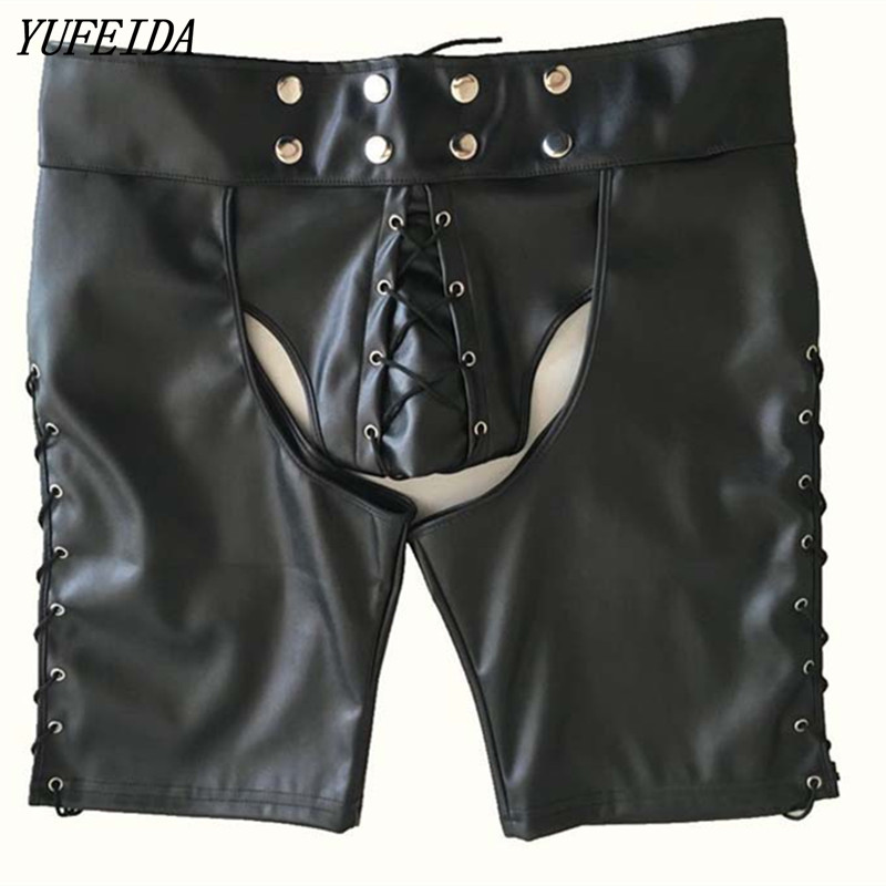 Sexy Men Boxers Short Pants Black PU Faux Leather Men Underwear Boxers Shorts Sheathy Cool Male Gay Underwear Short Pants