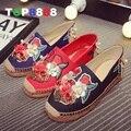 2016 verano famosa marca zapatos ocasionales de la señora elegante cómoda de la mujer calzado Unique flores de diseño para mujer zapatos planos ML2878