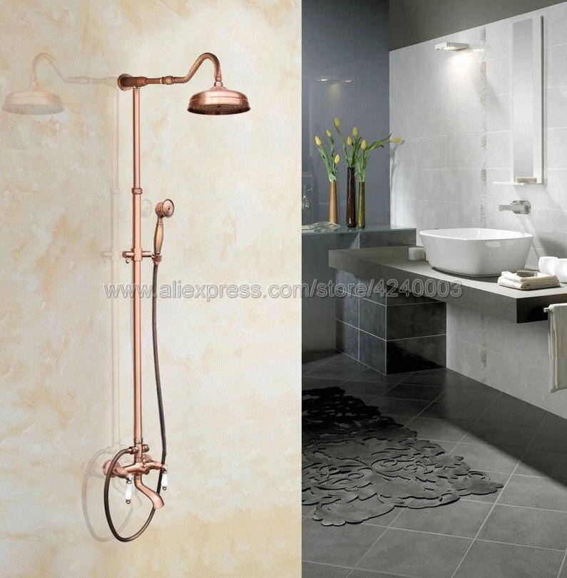 Antique Red Copper Wall Mounted Bathroom Shower Faucet Set 8 Rain Shower Head + Hand Spray Krg638