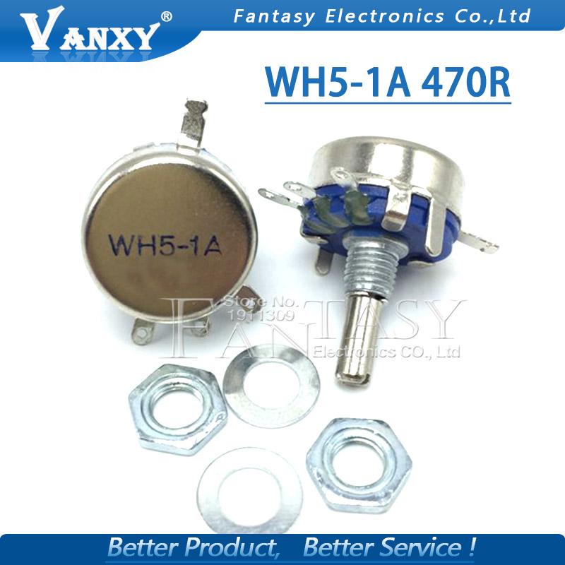2pcs WH5-1A 470 Ohm 3-Terminals Round Shaft Rotary Taper Carbon Potentiometer