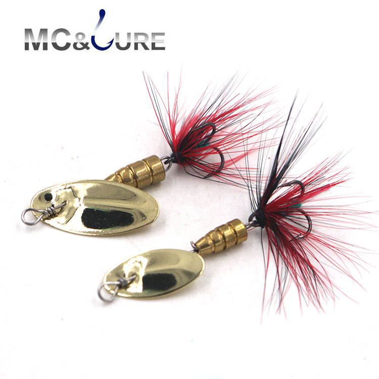 MC&LURE Fishing Lure Golden Spoon Baits 3pcs/lot 3g 5g Metal Lures Copper Spinner Bait VMC hooks Artificial Bait Fishing Tackle fishing lure metal rotating iron plate 1 set hard bait sequins jig spoon lures fishing connector lure pin artificial tackle