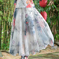 High Quality 8M Chiffon Maxi Skirt Fashion 2016 New Women Vintage Style Long Expansion Gradient Tulle Skirt