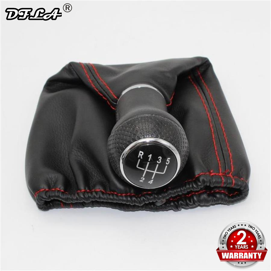 For Seat Ibiza 1996 1997 1998 1999 2000 2001 Car-Styling 5 Speed Car Gear Lever Stick Shift Knob With PU Leather Boot Red Line