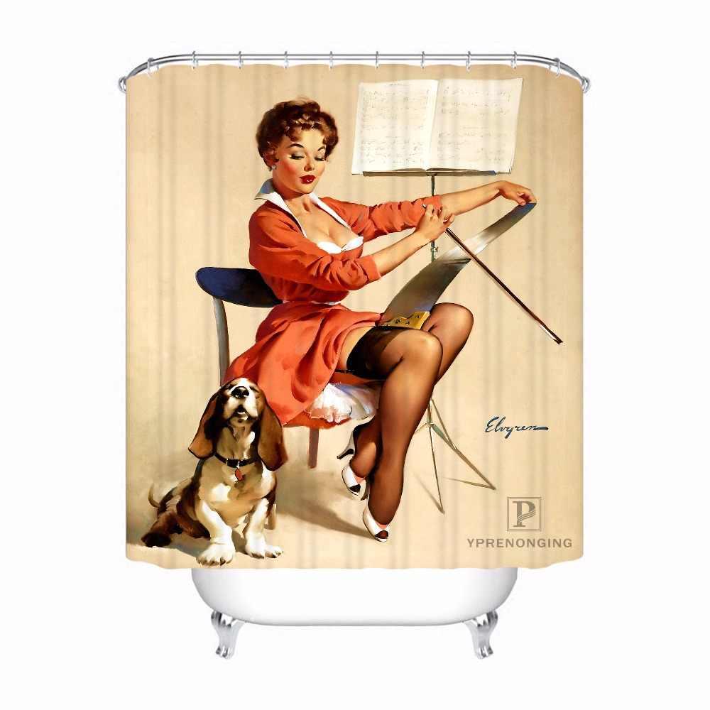 Custom Etor หวาน Pin up Girl @) 1 ห้องน้ำที่ยอมรับได้ผ้าม่านผ้าโพลีเอสเตอร์ผ้าม่านห้องน้ำ #180318-37-21