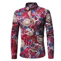 Mens Dragonfly печати с длинным рукавом Повседневная рубашка | мужская рубашка с цветочным принтом мужские цветок платье рубашка Camisa masculina CHEMISE Homme