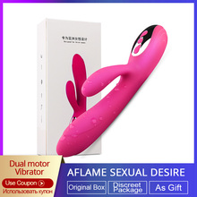 Omysky 10 скоростей Авто Отопление Кролик вибратор-Стимулятор клитора двойной вибрации Dildos G-spot Влагалище секс-игрушки для массажа для женщин