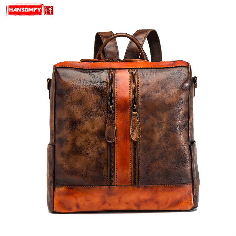Bagaj ve Çantalar'ten Sırt Çantaları'de Moda dikiş Kadın omuzdan askili çanta ilk katman deri eğlence seyahat büyük kapasiteli kadın sırt çantası basit vahşi okul çantaları'da  Grup 1