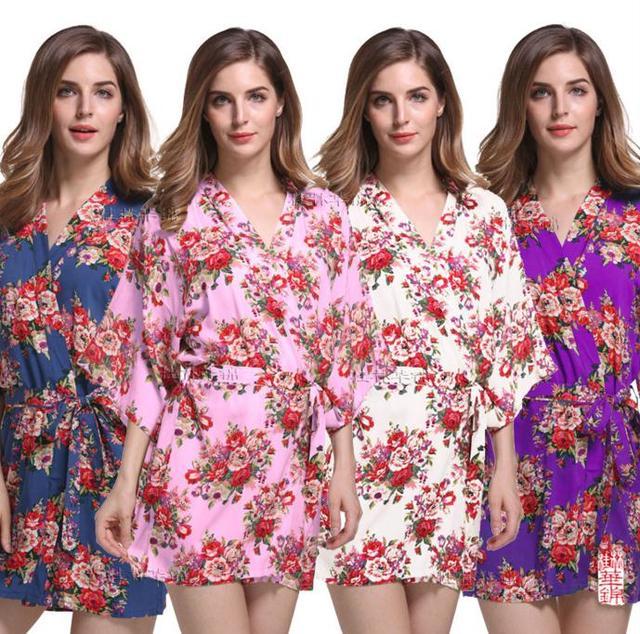 Новый Печати Цветочные Женщины Свадебные Кимоно Халат Сексуальный Короткий Хлопок Спа Ночь Платье Подружки Невесты Халат Халат Nighgown