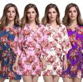 New Print Floral Women Wedding Bridal Kimono Robe Sexy Short Cotton Spa Night Dress Bridesmaids Dressing Gown Bathrobe Nighgown