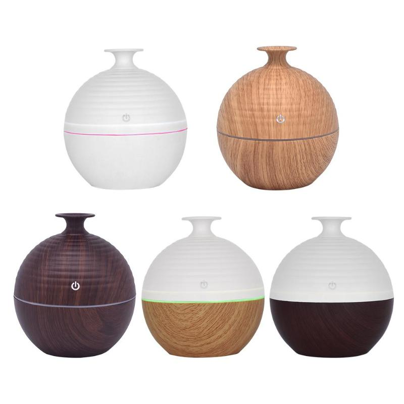 130Ml USB Smart Sensor Touch Wood Grain Humidifier Mini Wooden Aromatherapy Humidifier 7Color LED Light Diffuser