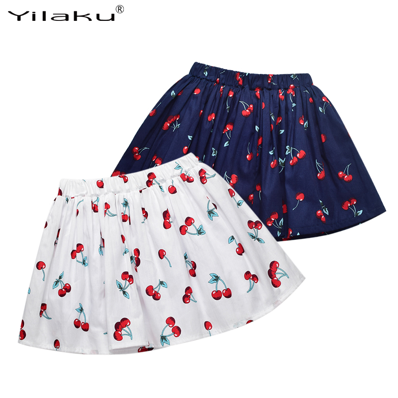 Yilaku Children Tutu Girls Skirts Cherry Print Tutu Skirt Girls Summer Kids Clothes Pleated Toddler Baby Girl Skirts 2~7 Years C 2018 little girls 2 pieces tutu skirt clothing sets summer cartoon cute cat toddler girl short tops lace skirts kids outfits