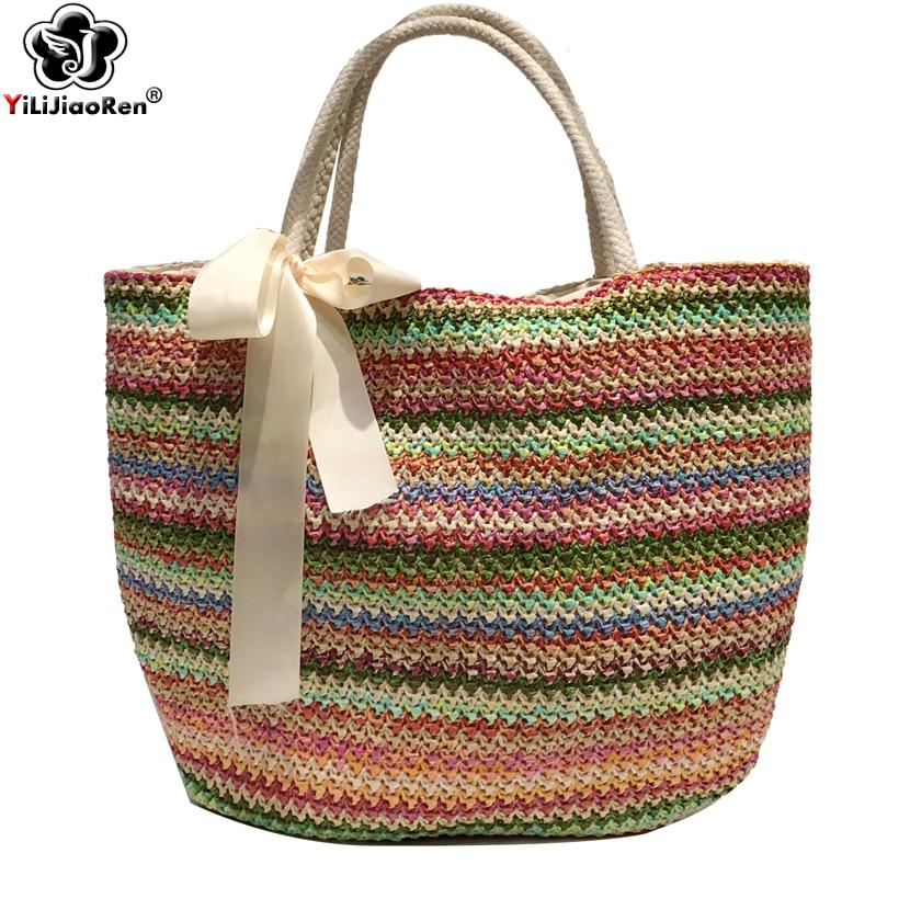 Women Retro Beach Bag Straw Woven Summer Vacation Travel Shoulder Bags Fashion
