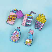 Feminis Pin Koleksi ~ Feminisme Perhiasan Lucu Cute Pink Blue Anti Remover Spray Enamel Pin Lencana Brooche(China)