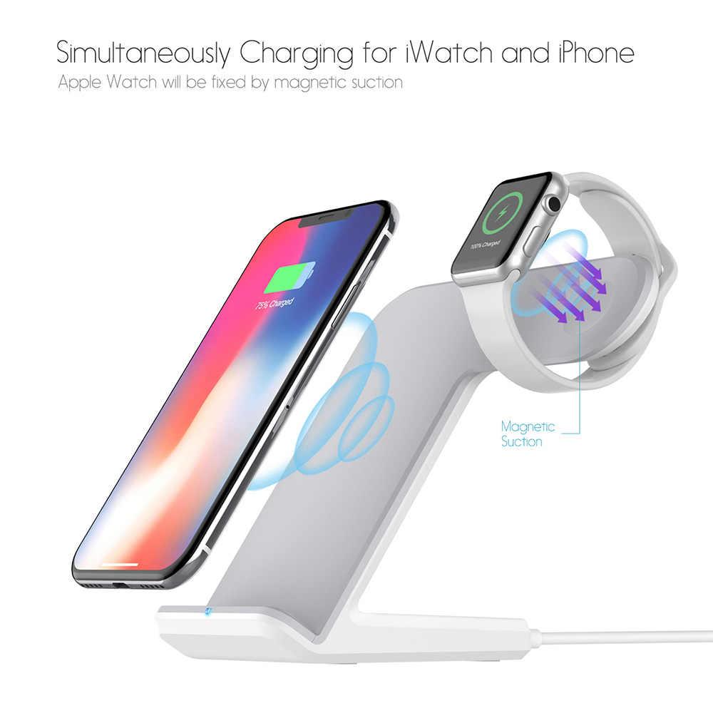 Dcae Qi Wireless Charger 10W Cepat Pengisian Dock Stand untuk Apple Watch 5 4 3 2 IWatch iPhone 11 Pro XS Max XR X 8 Samsung S10 S9