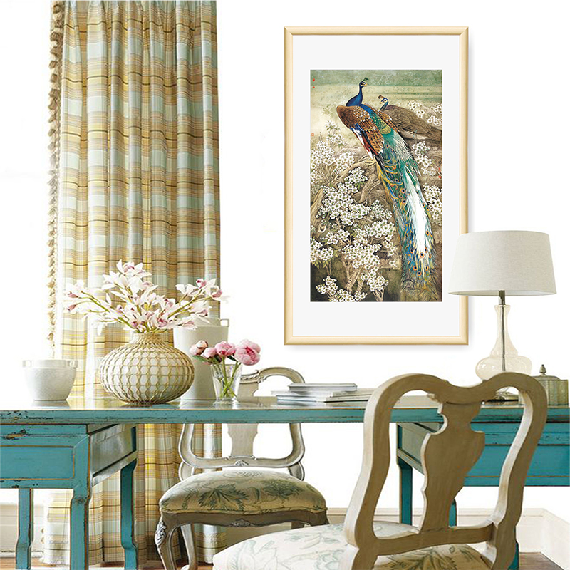 wall living painting drawing hanging background peacock traditional chinese decorative frameless