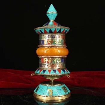Nepalese pure copper handmade filigreeinlaid gemstone prayer wheel (It has Tibetan scriptures in it)