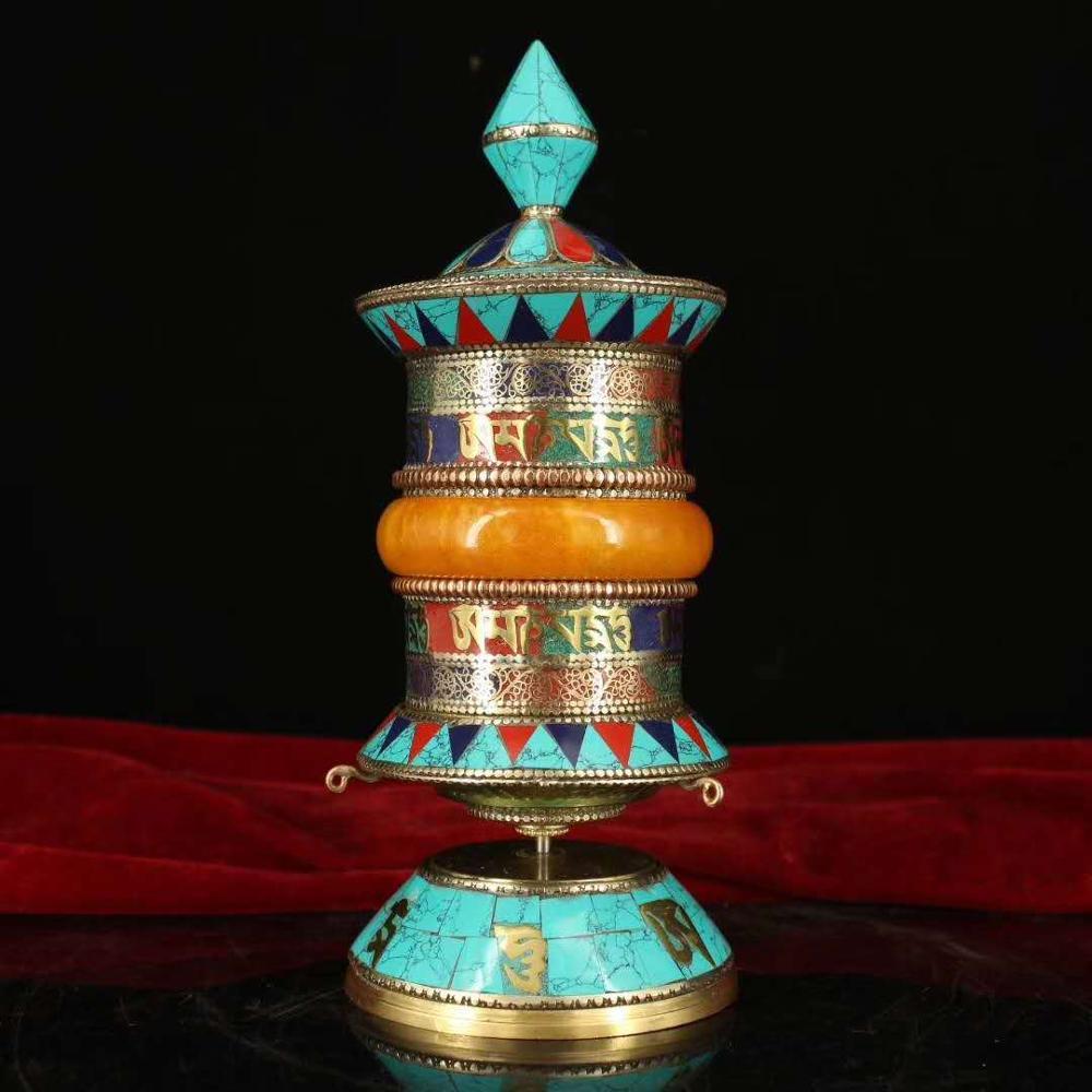 Roda de oração nepalês cobre puro handmade filigrana incrustada de pedras preciosas (Ele tem Tibetano escrituras no mesmo)
