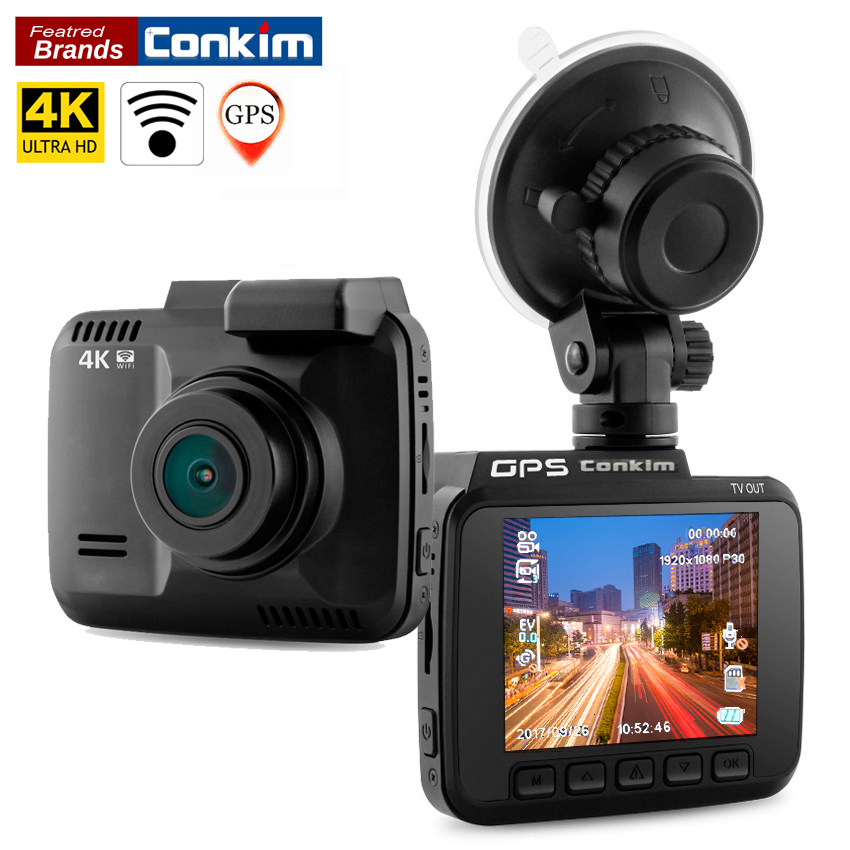Conkim Dash Cam Novatek 96660 Wifi Car Camera GPS Tracker 4K Ultra HD 2880*2160P Night Vision Car DVR 150 Degree Angle Lens H40