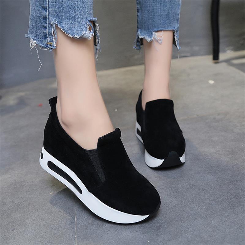 פלטפורמת סניקרס נשים לגפר נעלי סתיו להחליק על רך נוח גבירותיי נקבה נעל שחור מזדמן נשים נעלי CJ129
