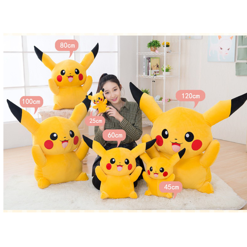 Kawaii Anime Plush Toy Pikachu Soft Stuffed Animal Kids Doll for Girls Boys Cute Baby stuff Fluffy Children Birthday Gift Pillow