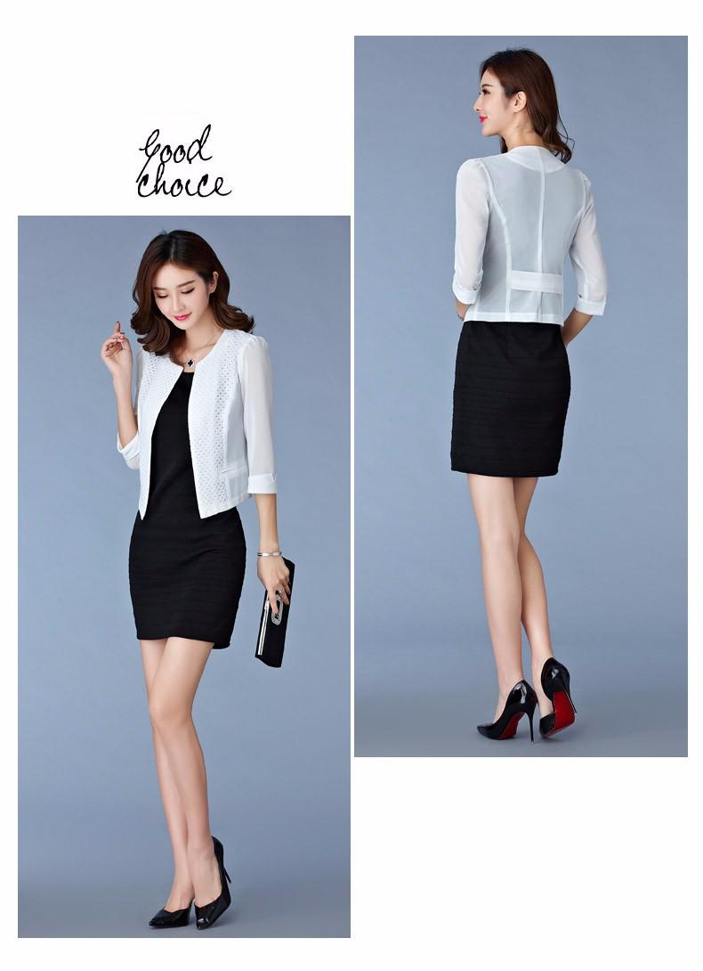 Women Black White Gauze Jacket Summer 2016 Chiffon Cardigan Sexy 34 Sleeve Plus Size Slim Jackets Office Lady Coat Tops A385  c