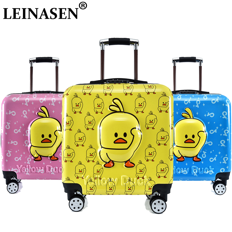 Brand 3D child duck trolley case kids Climb the stairs luggage Travel rolling suitcase girl cartoon Pull rod box child luggage