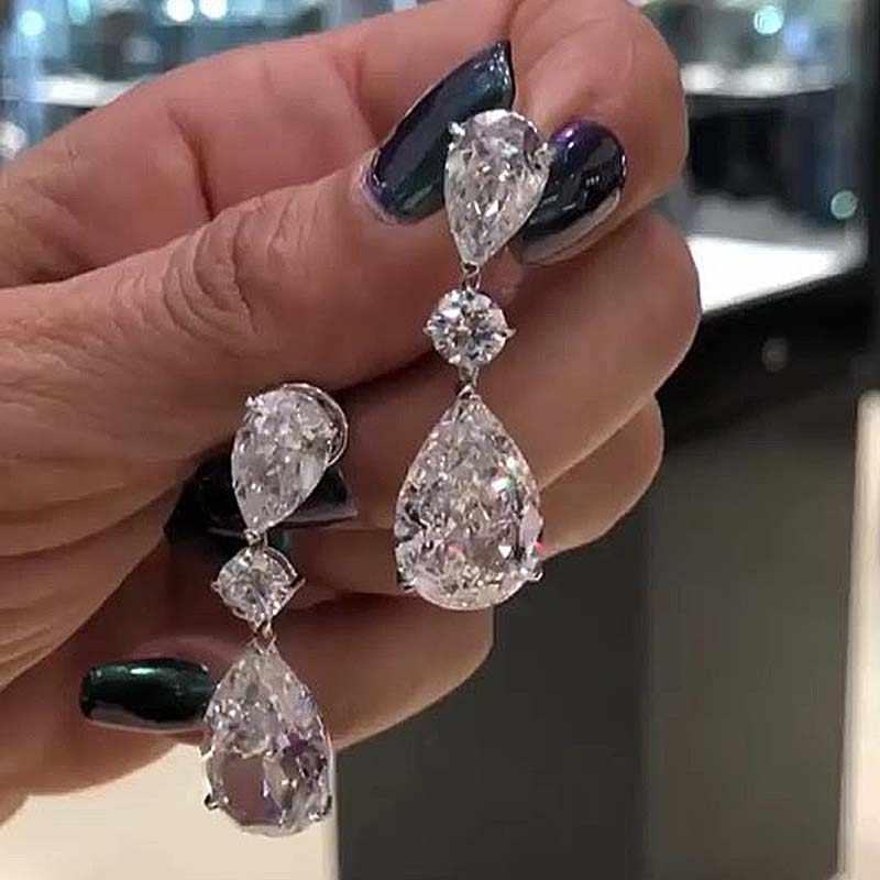 Classic Water Drop Earrings For Women Vintage Bohemian White Teardrop Stones AAA+CZ Drop Earring Long Ethnic Jewelry Z5M122