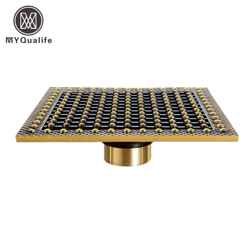 Best Quality 15cm * 15cm Square Shower Waste Drain Antique Brass Floor Grate Drainer Artistic Design high quality gold solid brass 4 inch 100 100mm square deodorant bath floor drain shower waste water drainer