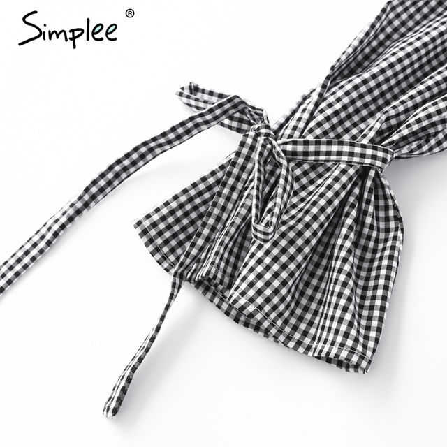 Simplee Off shoulder striped blouse shirt women High waist bow long sleeve backless tops Sexy button chemise femme casual blusas