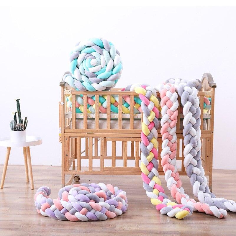 4 couleur coton bébé clôture sécurité crash bar lit garde-corps oreiller berceau enceinte protecteur oreiller coussin bébé chambre décoration