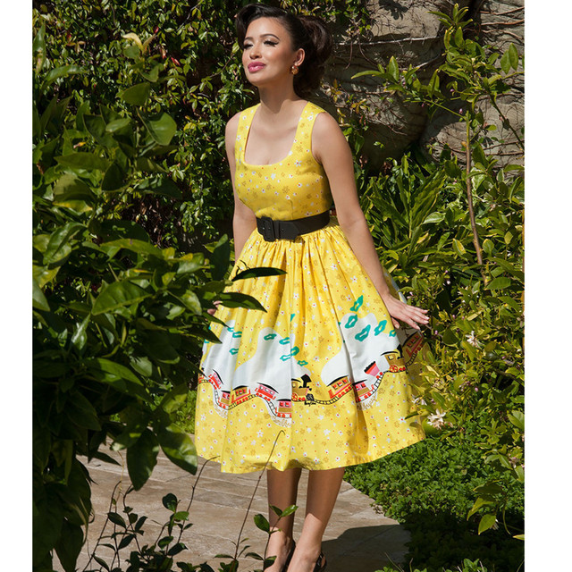 616ad5cca73 40- summer women vintage 50s aurora dress in mary blair yellow train border rockabilly  pinup dresses plus size vestidos jurken