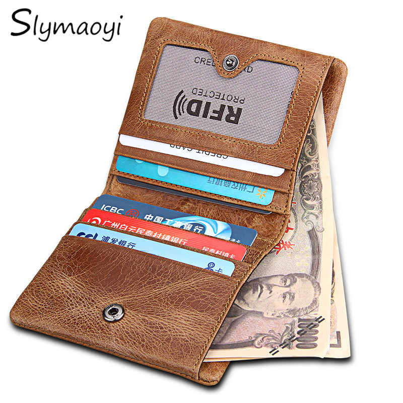 Slymaoyi RFID Blocking Bifold Slim Genuine Leather Thin Wallets for Men Purse ID/Credit Card Holder Fashion New Short Wallet томсон д прогулки по барселоне