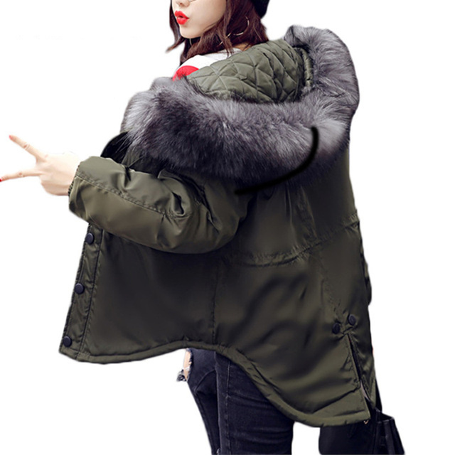 Oversized Coats Fur Collar Winter Coat Women Short Military Jacket ...