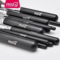 MSQ Pro 15 шт. Макияж Расчёски для волос комплект Косметическая пудра Основа тени для век Make Up Расчёски для волос Косметика Мягкие Синтетические волосы с ПУ кожаный чехол
