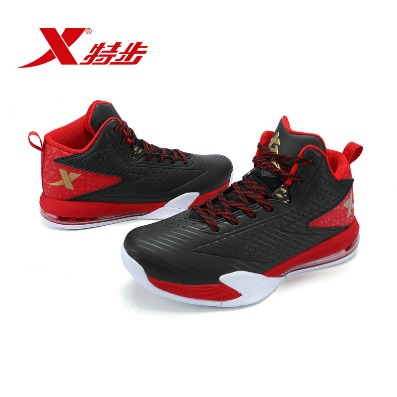 XTEP Authentic ManBasketball Boots Outdoor Cool Sports Shoes PU Gym Breathable MAX AIR Sneakers Free Shipping Athletic Training peak sport men outdoor bas basketball shoes medium cut breathable comfortable revolve tech sneakers athletic training boots