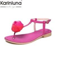 KARINLUNA Flower T Strap Buckle Summer Shoes 2017 Brand New Concise Fashion Women Sandals Shopping Date