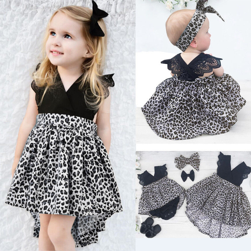 0-7Y Fashion Baby Girl Clothes Leopard Suit Lace Ruffles Sleeve Romper Dress + Headband 2pcs Outfit Toddler Kids Summer Costume