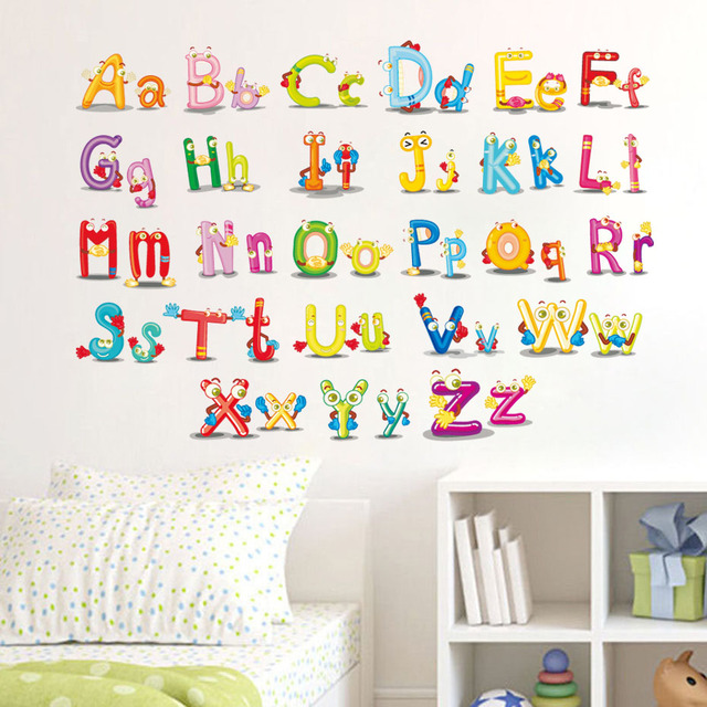 ABC English Alphabet Wall Stickers Vinyl Removable Colorful Mural Alphabet  Decals For Kids Rooms Nursery Wall