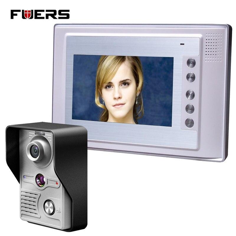 Fuers 7 Inch Video Door Phone Doorbell Intercom Kit 1-camera 1-monitor Night Vision 7 inch video door phone doorbell intercom kit 1 camera 1 monitor