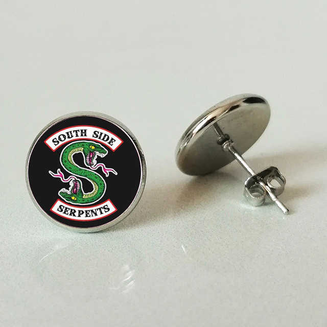 American TV Riverdale Stud earring Viper Pattern Glass Cabochon Charm Stud earring Fans Gift